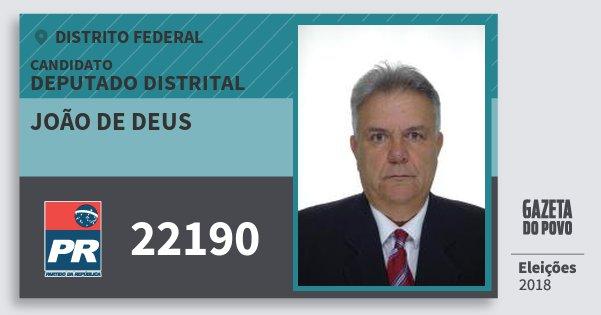Santinho João de Deus 22190 (PR) Deputado Distrital | Distrito Federal | Eleições 2018