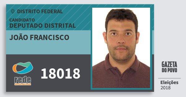 Santinho João Francisco 18018 (REDE) Deputado Distrital | Distrito Federal | Eleições 2018