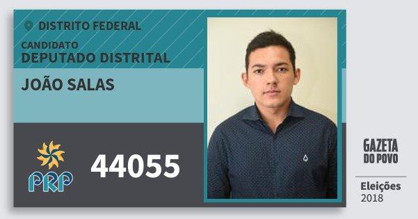 Santinho João Salas 44055 (PRP) Deputado Distrital   Distrito Federal   Eleições 2018
