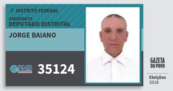 Santinho Jorge Baiano 35124 (PMB) Deputado Distrital | Distrito Federal | Eleições 2018