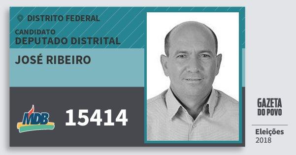 Santinho José Ribeiro 15414 (MDB) Deputado Distrital | Distrito Federal | Eleições 2018