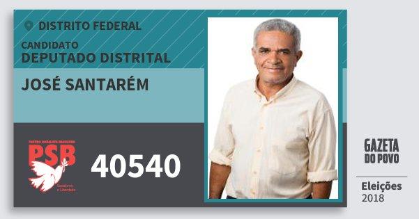 Santinho José Santarém 40540 (PSB) Deputado Distrital | Distrito Federal | Eleições 2018