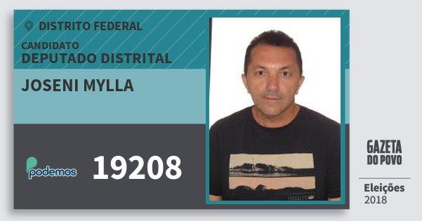 Santinho Joseni Mylla 19208 (PODE) Deputado Distrital | Distrito Federal | Eleições 2018