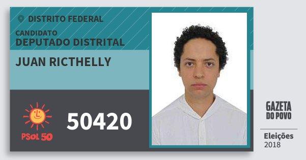 Santinho Juan Ricthelly 50420 (PSOL) Deputado Distrital | Distrito Federal | Eleições 2018