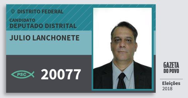 Santinho Julio Lanchonete 20077 (PSC) Deputado Distrital | Distrito Federal | Eleições 2018