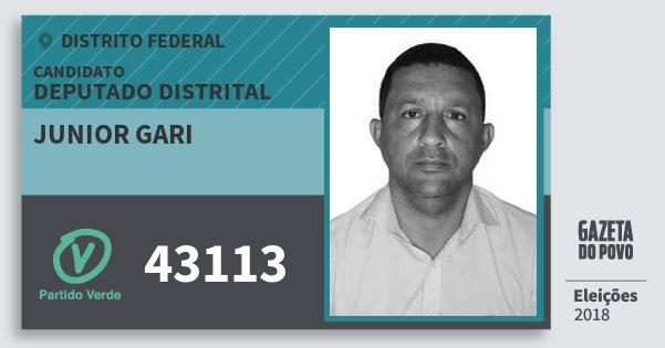 Santinho Junior Gari 43113 (PV) Deputado Distrital | Distrito Federal | Eleições 2018