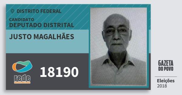 Santinho Justo Magalhães 18190 (REDE) Deputado Distrital | Distrito Federal | Eleições 2018