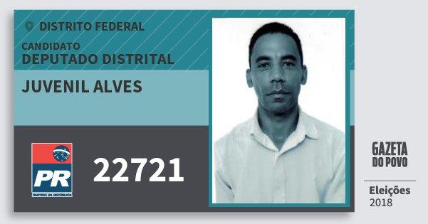 Santinho Juvenil Alves 22721 (PR) Deputado Distrital | Distrito Federal | Eleições 2018