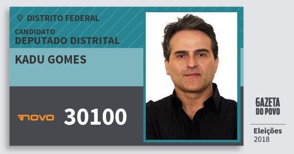 Santinho Kadu Gomes 30100 (NOVO) Deputado Distrital | Distrito Federal | Eleições 2018