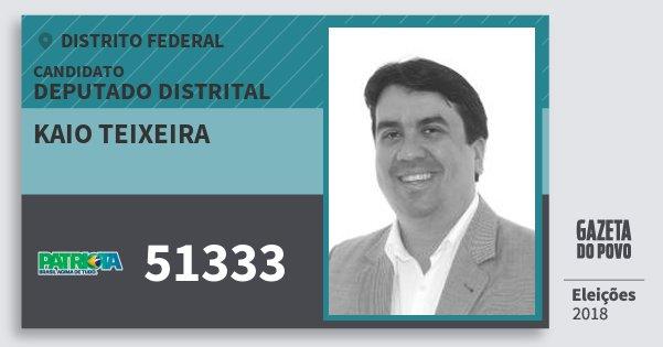 Santinho Kaio Teixeira 51333 (PATRI) Deputado Distrital | Distrito Federal | Eleições 2018
