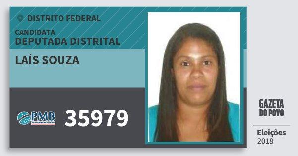 Santinho Laís Souza 35979 (PMB) Deputada Distrital | Distrito Federal | Eleições 2018
