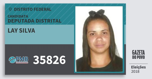 Santinho Lay Silva 35826 (PMB) Deputada Distrital | Distrito Federal | Eleições 2018