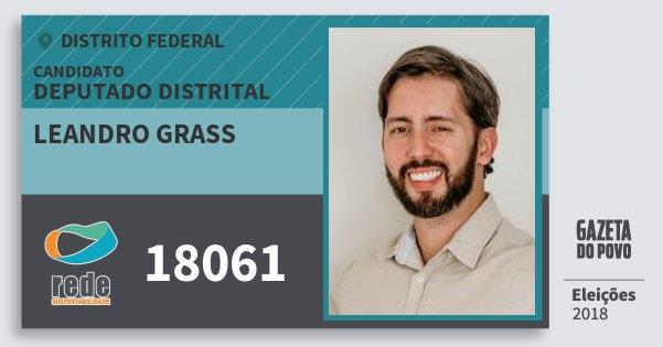 Santinho Leandro Grass 18061 (REDE) Deputado Distrital | Distrito Federal | Eleições 2018