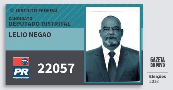 Santinho Lelio Negao 22057 (PR) Deputado Distrital   Distrito Federal   Eleições 2018