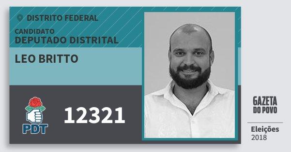 Santinho Leo Britto 12321 (PDT) Deputado Distrital | Distrito Federal | Eleições 2018