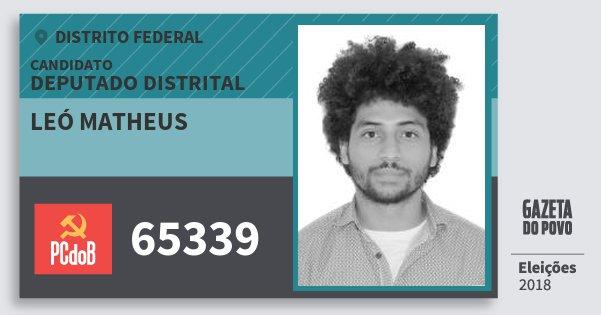 Santinho Leó Matheus 65339 (PC do B) Deputado Distrital | Distrito Federal | Eleições 2018