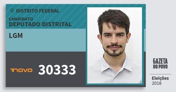Santinho Lgm 30333 (NOVO) Deputado Distrital | Distrito Federal | Eleições 2018