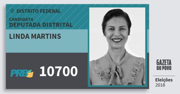 Santinho Linda Martins 10700 (PRB) Deputada Distrital | Distrito Federal | Eleições 2018