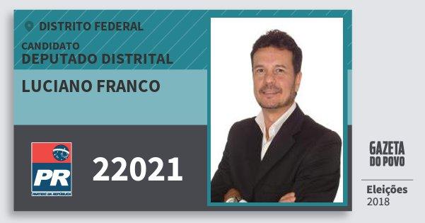 Santinho Luciano Franco 22021 (PR) Deputado Distrital | Distrito Federal | Eleições 2018