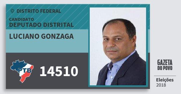Santinho Luciano Gonzaga 14510 (PTB) Deputado Distrital   Distrito Federal   Eleições 2018