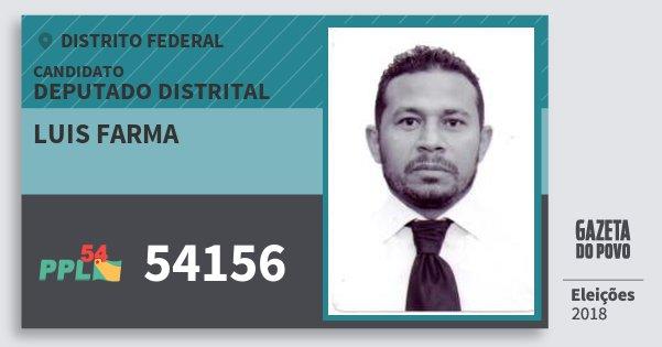 Santinho Luis Farma 54156 (PPL) Deputado Distrital | Distrito Federal | Eleições 2018