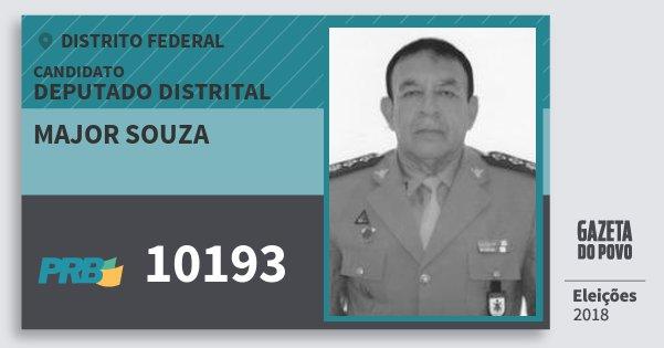 Santinho Major Souza 10193 (PRB) Deputado Distrital | Distrito Federal | Eleições 2018