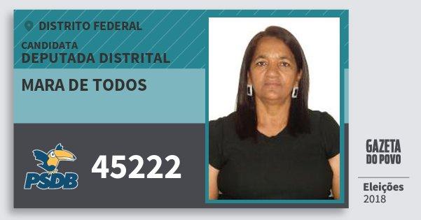 Santinho Mara de Todos 45222 (PSDB) Deputada Distrital | Distrito Federal | Eleições 2018