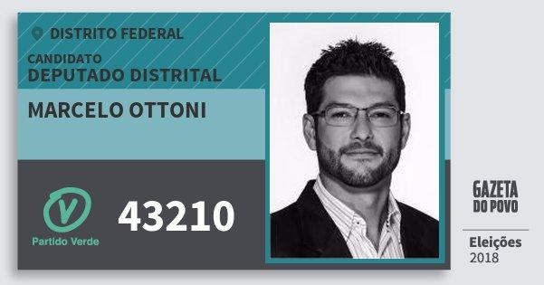 Santinho Marcelo Ottoni 43210 (PV) Deputado Distrital | Distrito Federal | Eleições 2018
