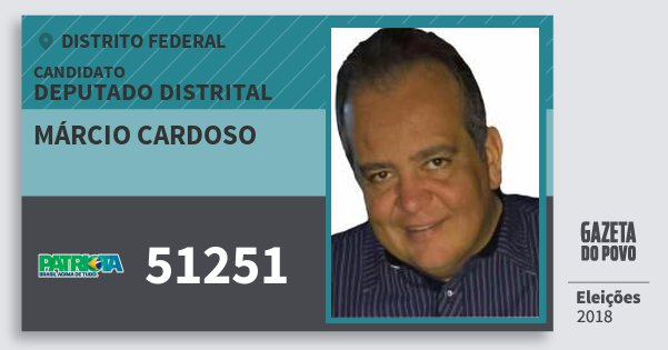 Santinho Márcio Cardoso 51251 (PATRI) Deputado Distrital | Distrito Federal | Eleições 2018