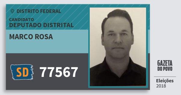 Santinho Marco Rosa 77567 (SOLIDARIEDADE) Deputado Distrital | Distrito Federal | Eleições 2018