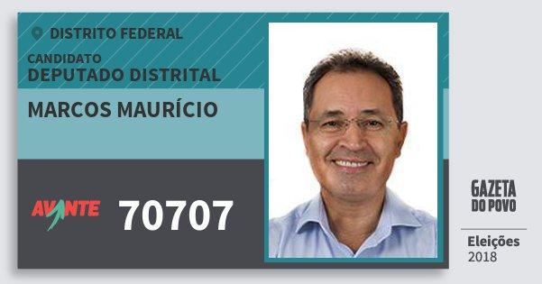 Santinho Marcos Maurício 70707 (AVANTE) Deputado Distrital | Distrito Federal | Eleições 2018