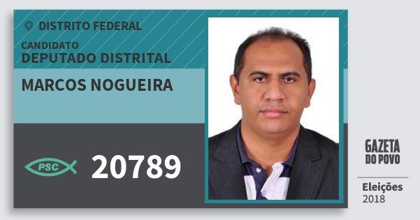 Santinho Marcos Nogueira 20789 (PSC) Deputado Distrital | Distrito Federal | Eleições 2018