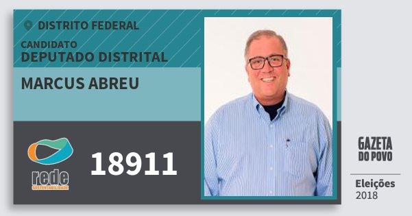Santinho Marcus Abreu 18911 (REDE) Deputado Distrital | Distrito Federal | Eleições 2018