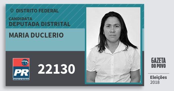 Santinho Maria Duclerio 22130 (PR) Deputada Distrital | Distrito Federal | Eleições 2018