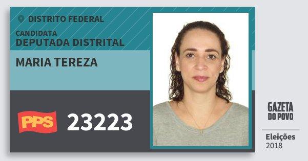 Santinho Maria Tereza 23223 (PPS) Deputada Distrital | Distrito Federal | Eleições 2018