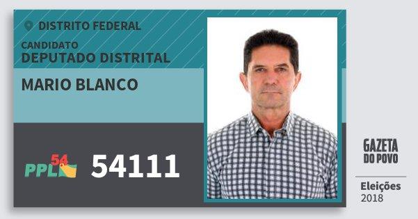Santinho Mario Blanco 54111 (PPL) Deputado Distrital | Distrito Federal | Eleições 2018