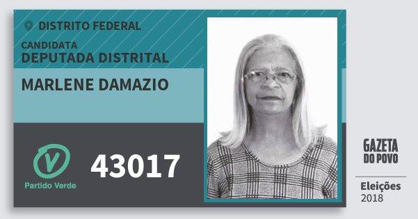 Santinho Marlene Damazio 43017 (PV) Deputada Distrital | Distrito Federal | Eleições 2018