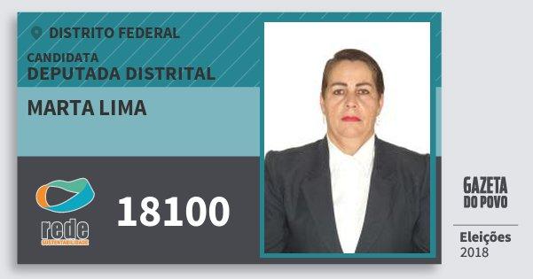 Santinho Marta Lima 18100 (REDE) Deputada Distrital | Distrito Federal | Eleições 2018