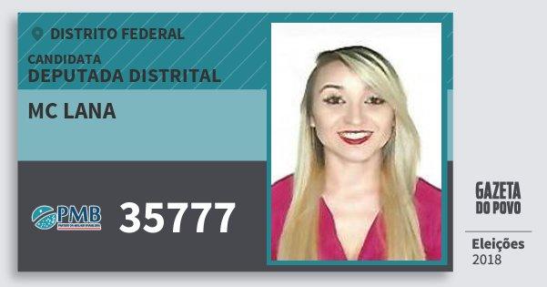 Santinho Mc Lana 35777 (PMB) Deputada Distrital | Distrito Federal | Eleições 2018