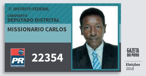 Santinho Missionario Carlos 22354 (PR) Deputado Distrital | Distrito Federal | Eleições 2018