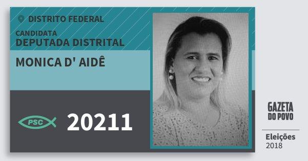 Santinho Monica d' Aidê 20211 (PSC) Deputada Distrital | Distrito Federal | Eleições 2018
