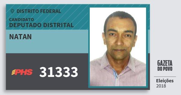 Santinho Natan 31333 (PHS) Deputado Distrital | Distrito Federal | Eleições 2018