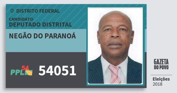 Santinho Negão do Paranoá 54051 (PPL) Deputado Distrital | Distrito Federal | Eleições 2018