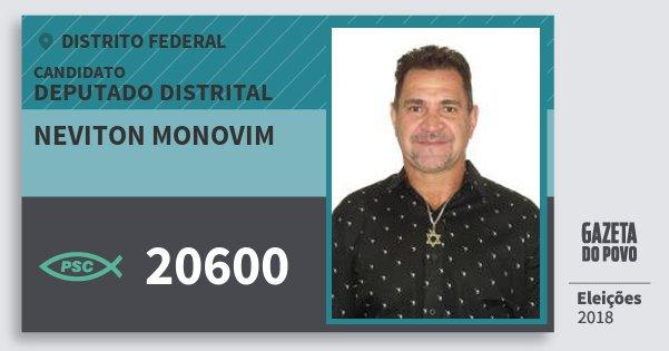 Santinho Neviton Monovim 20600 (PSC) Deputado Distrital | Distrito Federal | Eleições 2018