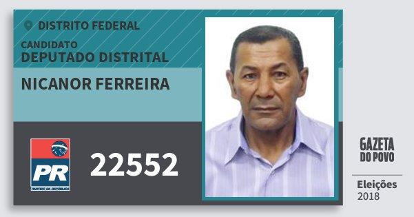 Santinho Nicanor Ferreira 22552 (PR) Deputado Distrital | Distrito Federal | Eleições 2018