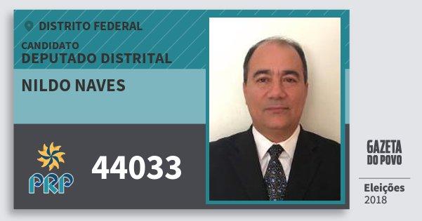 Santinho Nildo Naves 44033 (PRP) Deputado Distrital | Distrito Federal | Eleições 2018