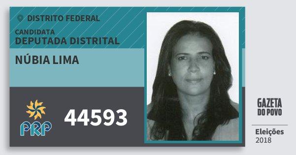 Santinho Núbia Lima 44593 (PRP) Deputada Distrital | Distrito Federal | Eleições 2018