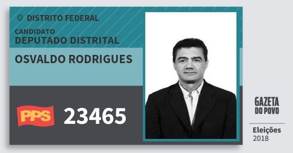 Santinho Osvaldo Rodrigues 23465 (PPS) Deputado Distrital | Distrito Federal | Eleições 2018