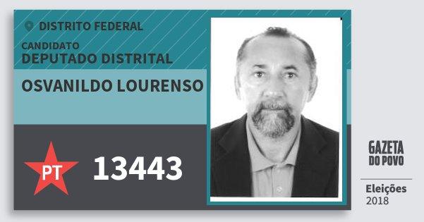 Santinho Osvanildo Lourenso 13443 (PT) Deputado Distrital | Distrito Federal | Eleições 2018