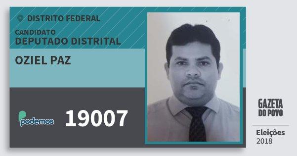 Santinho Oziel Paz 19007 (PODE) Deputado Distrital   Distrito Federal   Eleições 2018